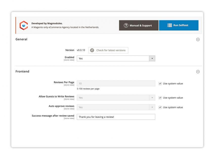 Configureer eenvoudig de Shopreview en ontvang direct de laatste versie of een link naar de Knowledge Base voor meer informatie over de configuratie.